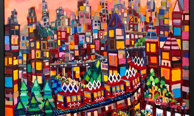 oil colour   evning city