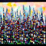 油彩画 | 夜明けのまち