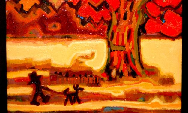 油彩画 | 秋の散歩道