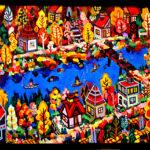 油彩画 | 秋のまち