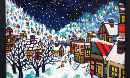 油彩画 | 雪のまち