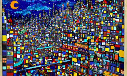 油彩画 | 夜のまち
